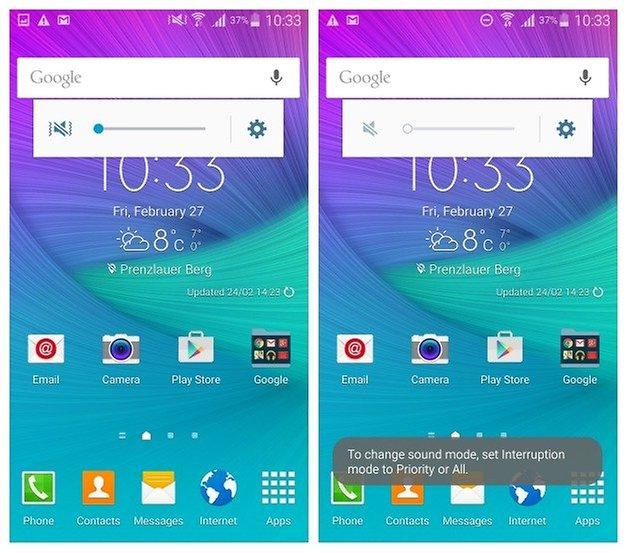 AndroidPIT Galaxy Note 4 Android 5 0 Lollipop вибрирует беззвучно