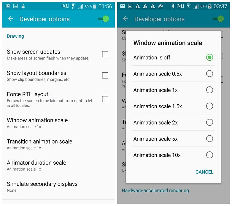 Параметры разработчика AndroidPIT Galaxy Note 4 отключают масштаб анимации