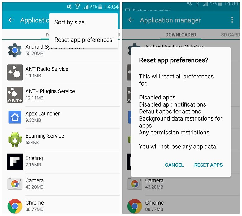 Настройки приложения AndroidPIT Galaxy Note 4 сбросить настройки приложения