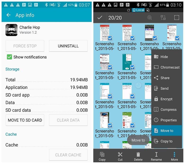AndroidPIT Galaxy Note 4 перемещает изображения приложений на SD-карту
