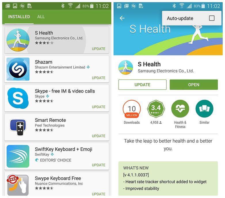 AndroidPIT Galaxy S5 TouchWiz Play Store S Health автоматически обновляется