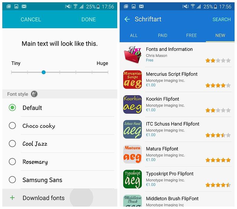 Стили шрифтов AndroidPIT Galaxy S6 Edge TouchWiz