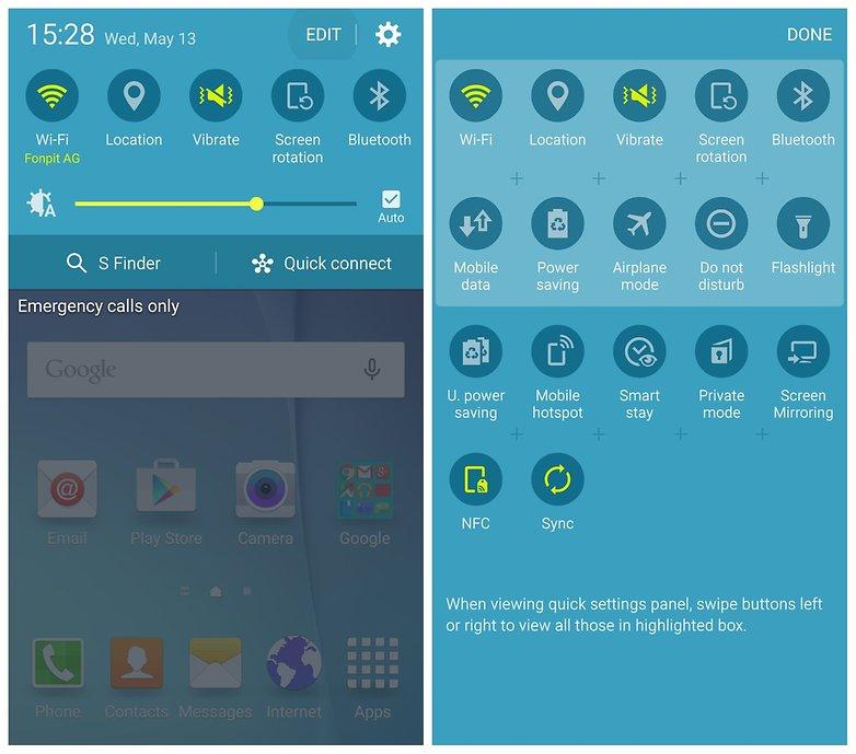AndroidPIT Galaxy S6: редактировать быстрые настройки