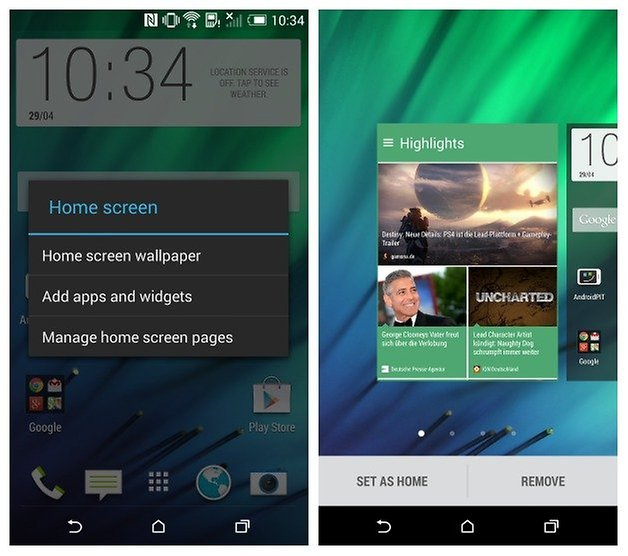 AndroidPIT HTC One M8 Blinkfeed Управление