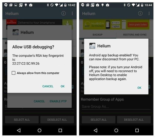 Установлено отладочное USB-соединение AndroidPIT Helium Backup