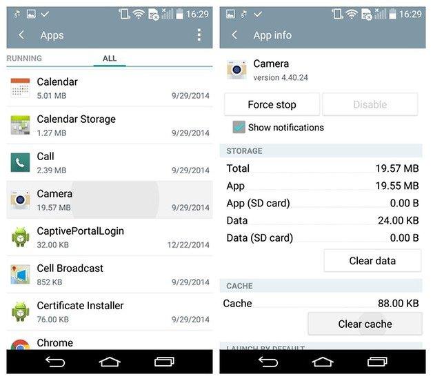 AndroidPIT LG G3 Android 5 0 Lollipop Camera app очистить кеш