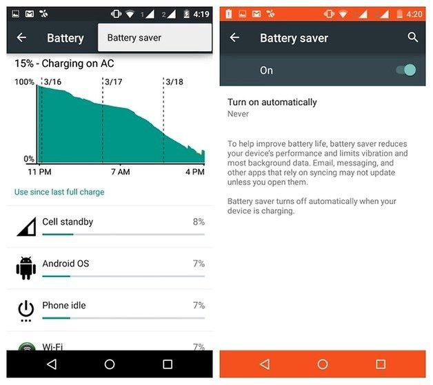 AndroidPIT Moto G 2014 экономия заряда батареи