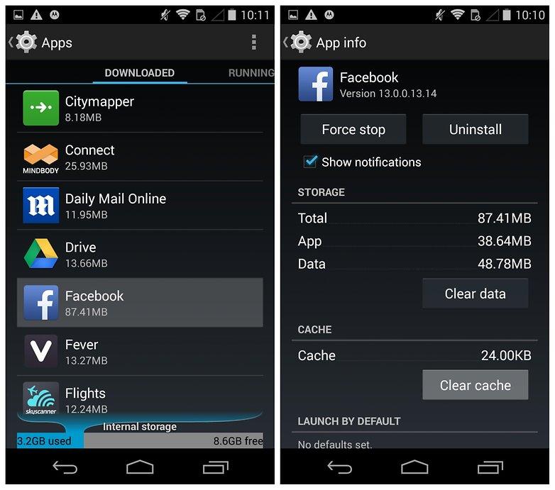 Проблемы с AndroidPIT Moto X Очистить кеш Facebook