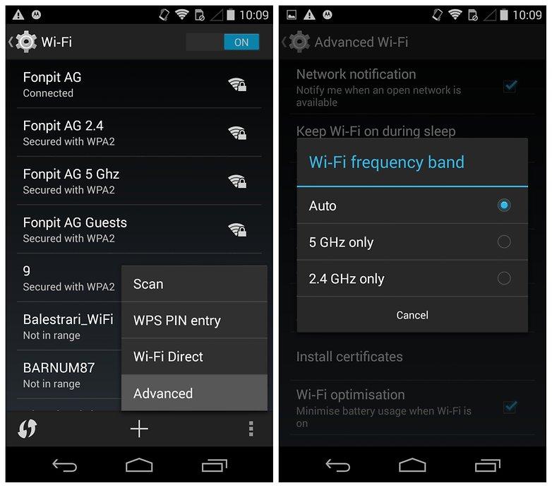 Проблемы AndroidPIT Moto X Диапазон частот Wi-Fi