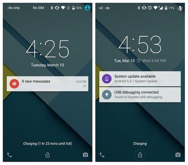 AndroidPIT Nexus 5 Android 5 0 и 5 1 сравнение экрана блокировки