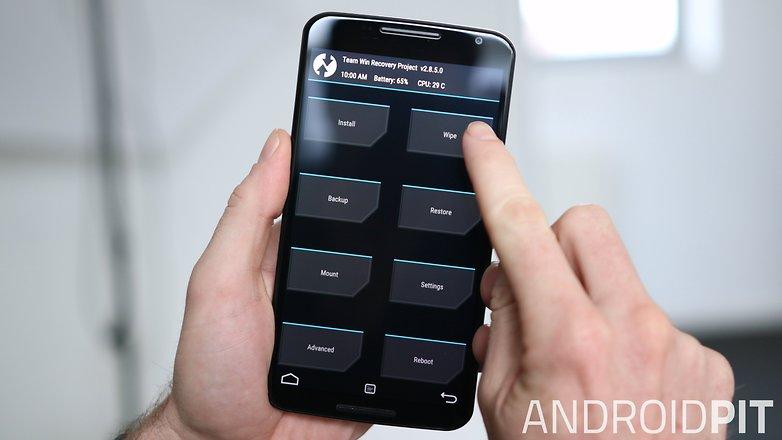 AndroidPIT Nexus 6 TWRP Recovery очистить меню