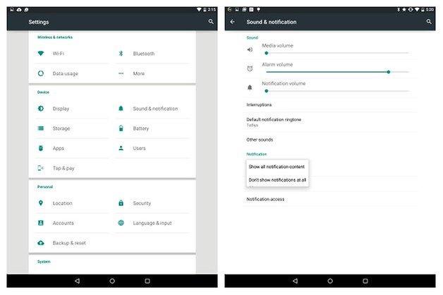 Советы по AndroidPIT Nexus 9 Уведомления Проведите пальцем по экрану