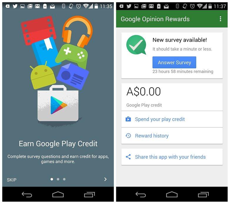 Платные приложения AndroidPIT для бесплатных наград Google Opinion Rewards