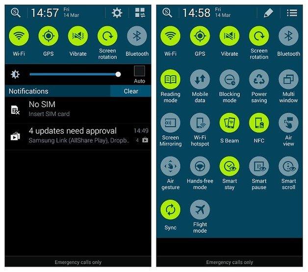 AndroidPIT S4 S5 Быстрые настройки