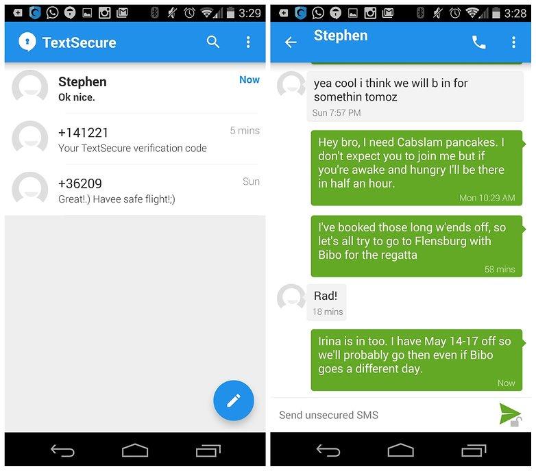 AndroidPIT TextSecure зашифрованный обмен сообщениями