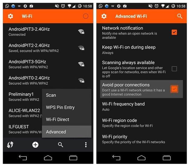 AndroidPIT WiFi تجنب سوء الاتصالات