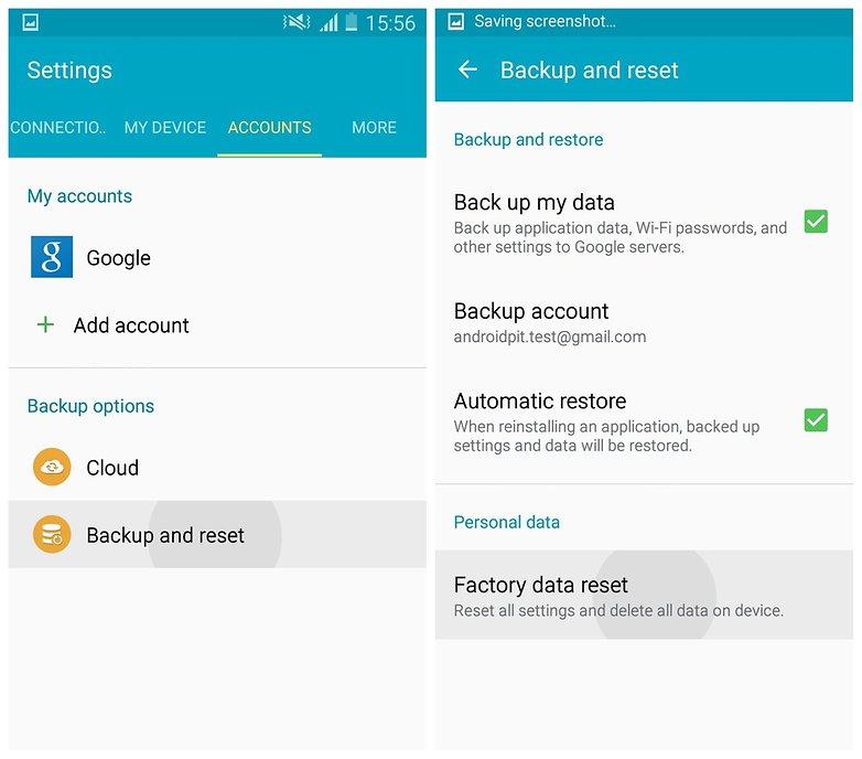 AndroidPIT Galaxy S4 Lollipop настройки сброса заводских данных
