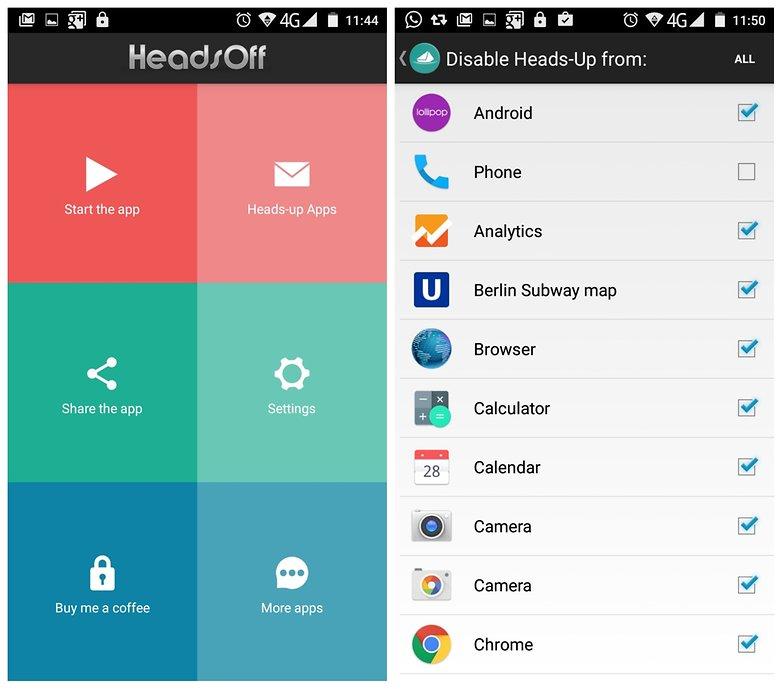 Настройки приложения AndroidPIT Heads Off
