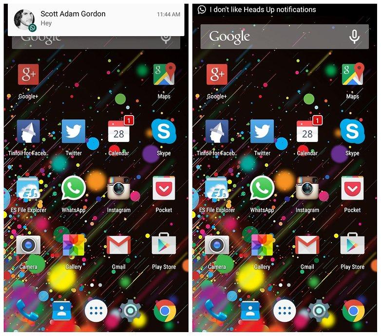 AndroidPIT Heads Off уведомления леденец вверх тикер текст