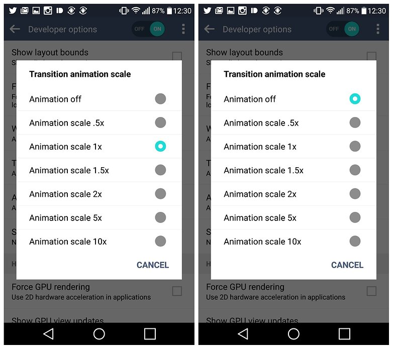AndroidPIT LG G4 Developer Options масштаб анимации перехода