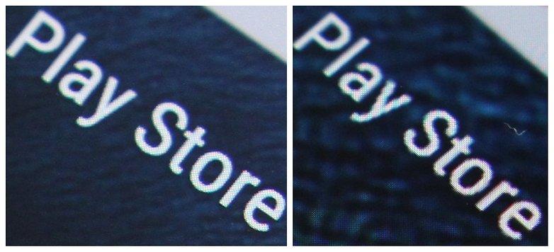 Экран AndroidPIT Nexus 6 QHD против текста HD крупным планом