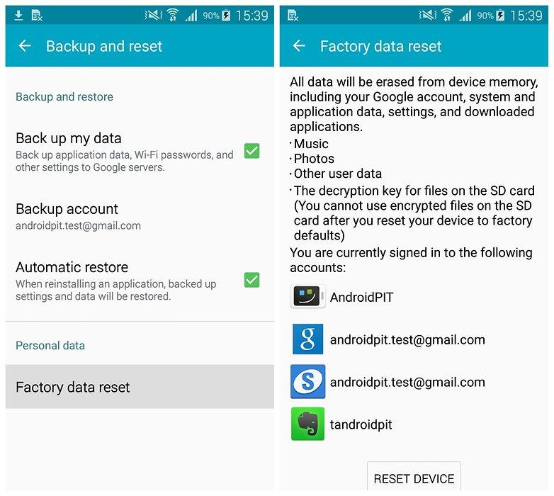 Сброс заводских данных AndroidPIT Samsung Galaxy S5 TouchWiz