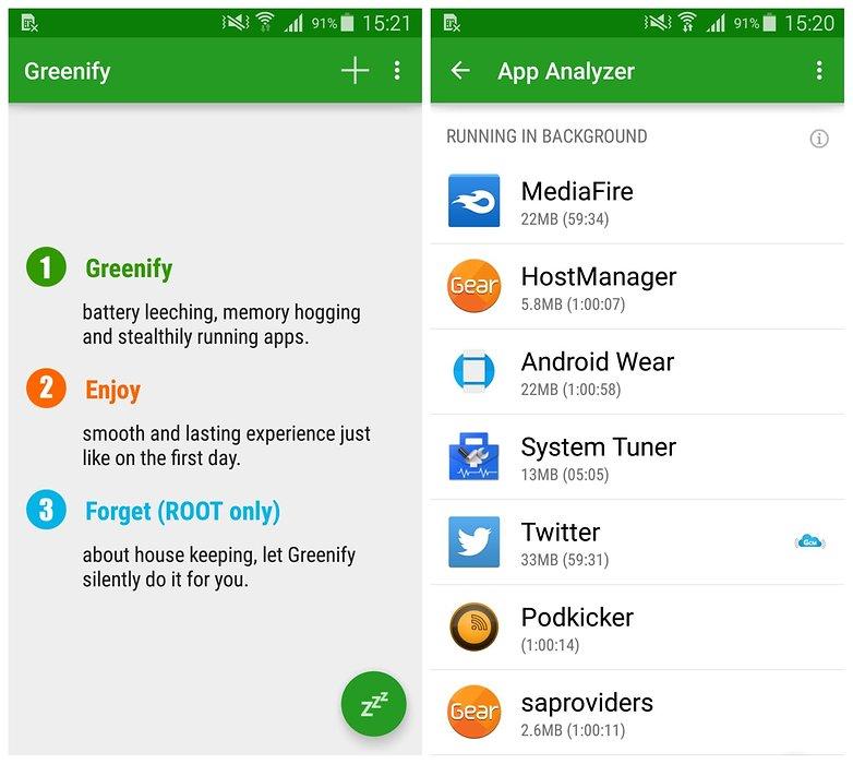 AndroidPIT Samsung Galaxy S5 TouchWiz: экологизация приложений для гибернации