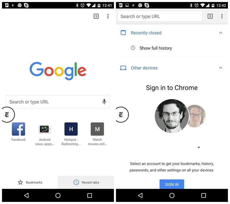 AndroidPIT Chrome недавние вкладки другие устройства
