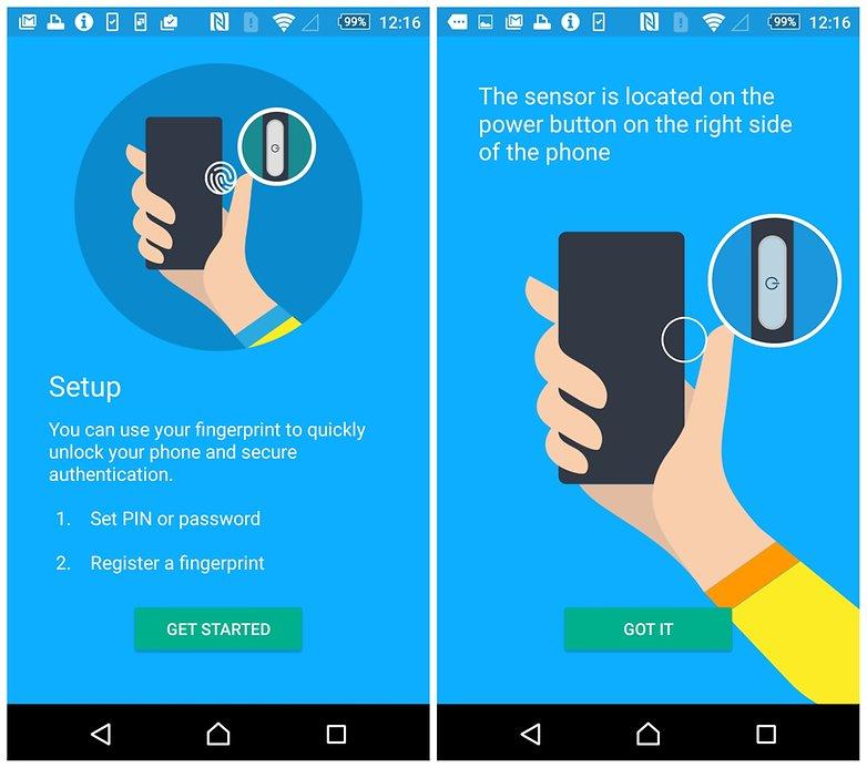 Настройка сканера отпечатков пальцев AndroidPIT Sony Xperia Z5