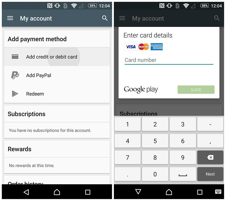 AndroidPIT Play Store добавить платежные реквизиты