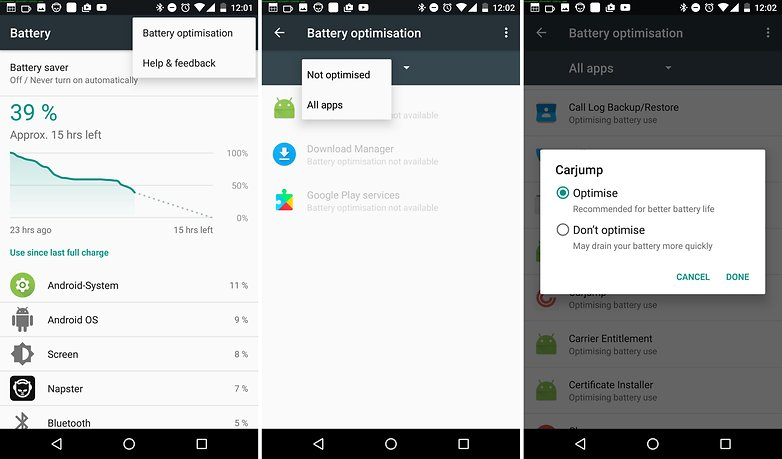 оптимизация батареи Android Nougat