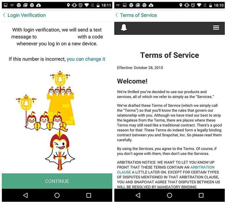 AndroidPIT Snapchat советы условия проверки входа в систему w782