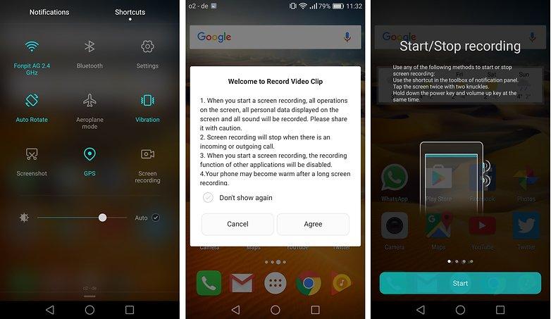 androidpit honor 8 экран записи