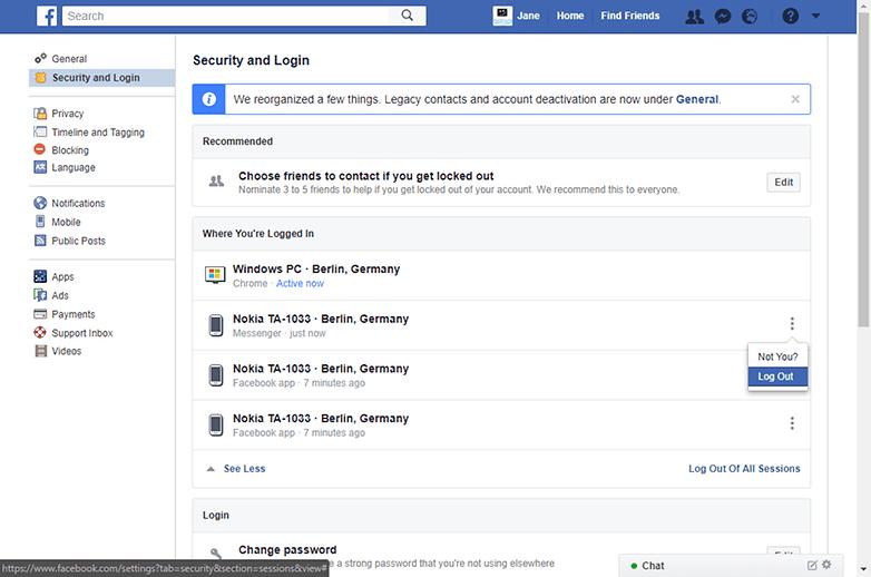 facebook messenger выйти из системы