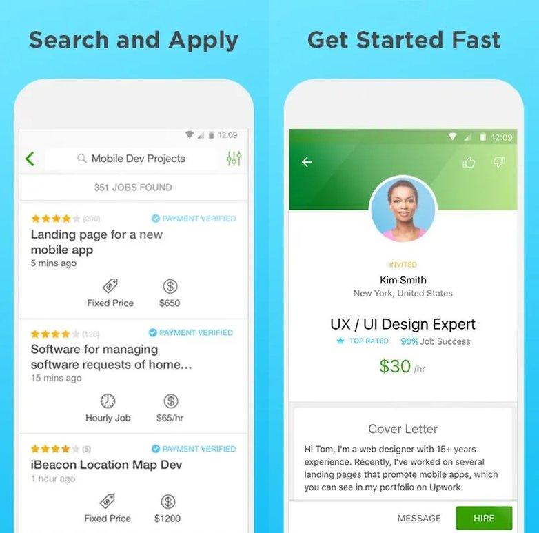 скриншоты приложения upwork