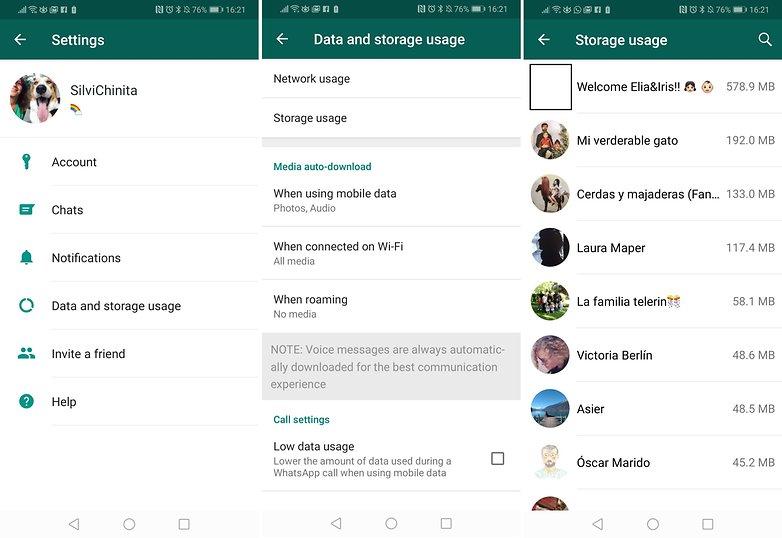 whatsapp delete chats storage usage