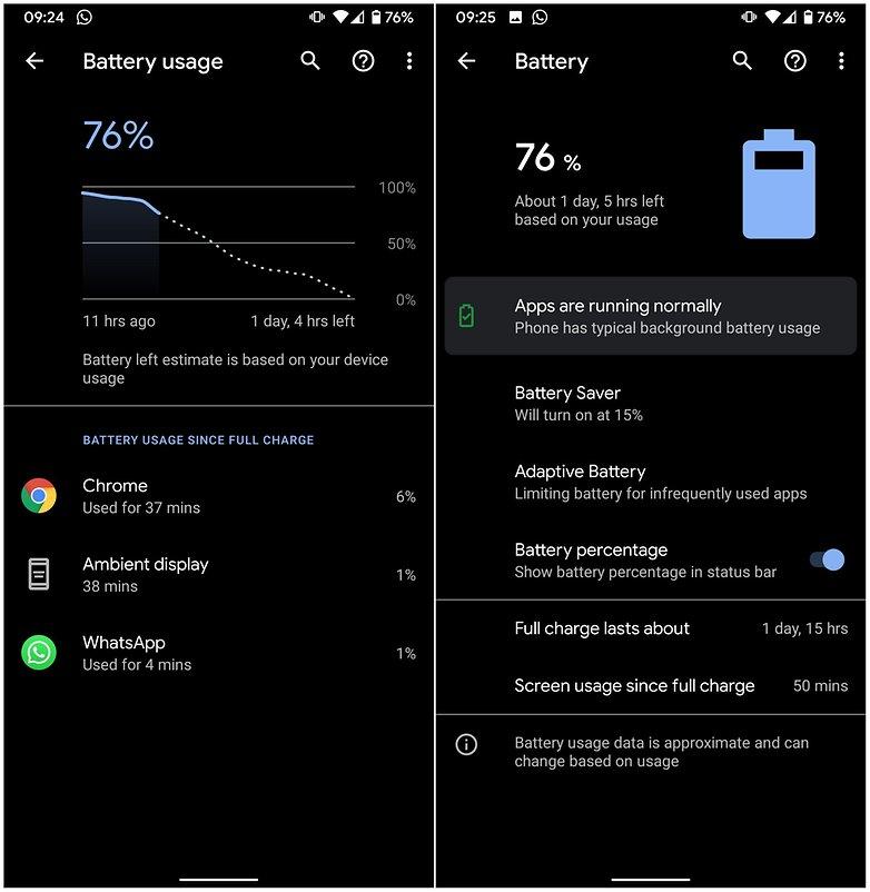 меню батареи android 10