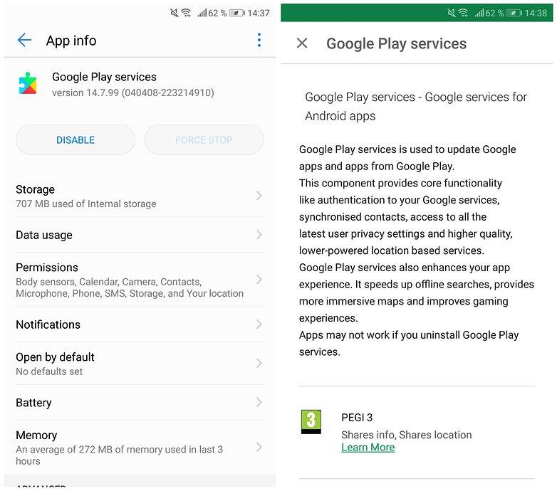скриншот сервисов Google Play