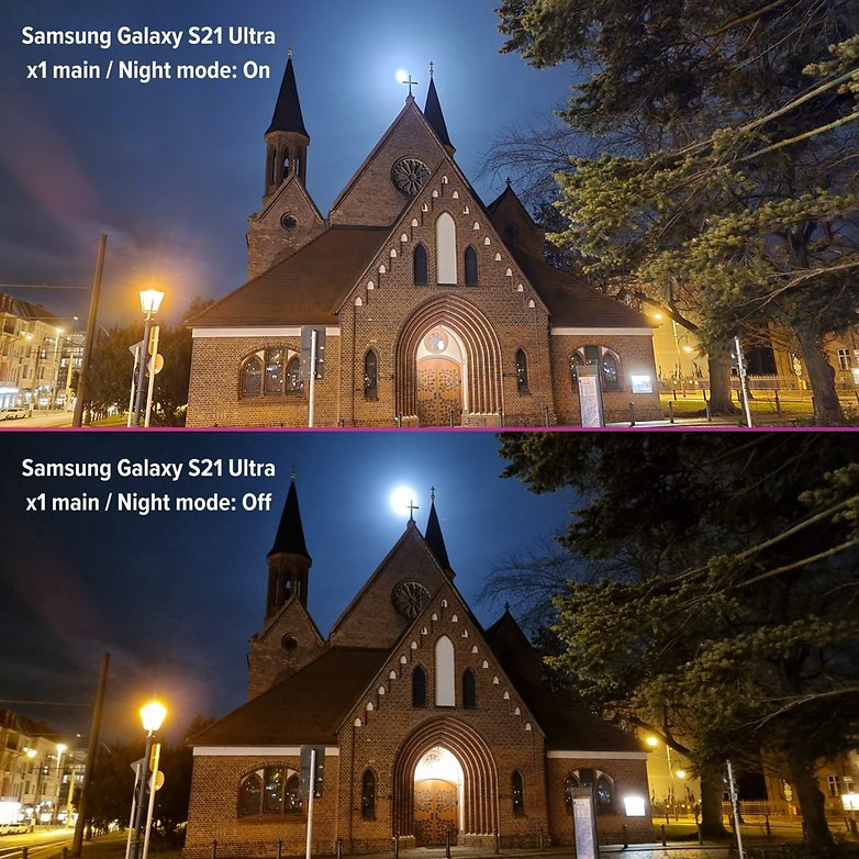 samsung galaxy s21 ultra review photo night on vs off