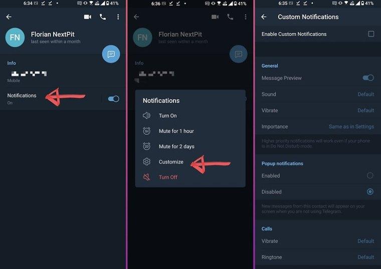 telegram how to custom notifications