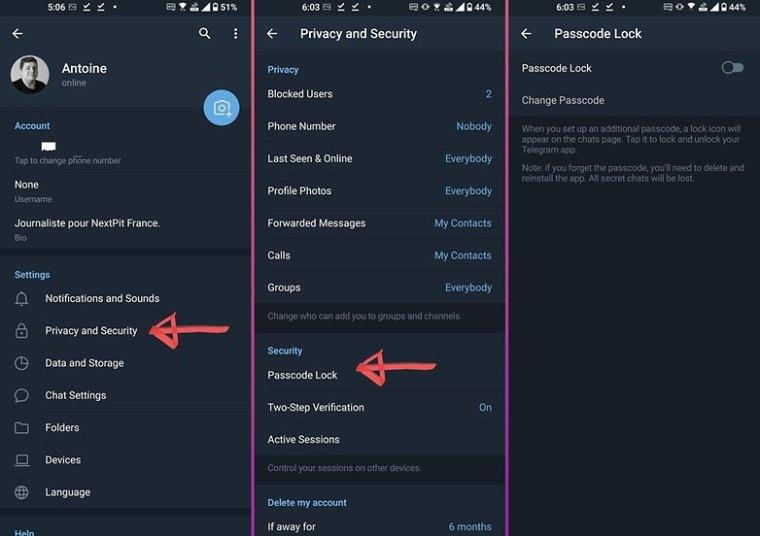 telegram how to passcode lock