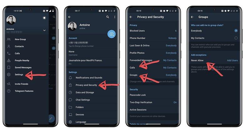 конфиденциальность телеграмм как перестать добавлять в группы