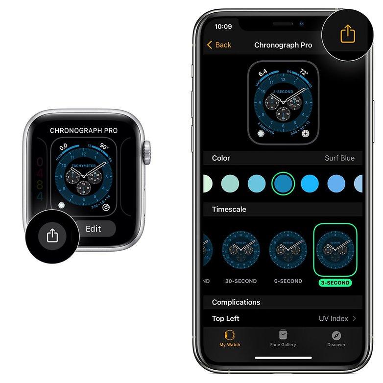Совместное использование лица Apple Watch