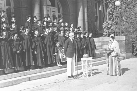 President Charles Herlihy speaking at a graduation ceremony, 1939 President Charles Herlihy speaking at a graduation ceremony, 1939
