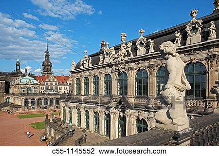 Zwinger Palace Courtyard Dresden Saxony Germany Stock