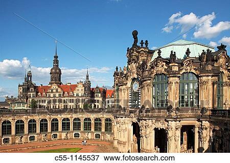 Zwinger Palace Courtyard Dresden Saxony Germany Stock Photo
