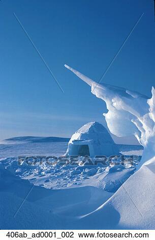 Traditional Inuit Eskimo Igloo Resolute Bay Canada Winter Scenic Stock Image   406ab_ad0001_002   Fotosearch
