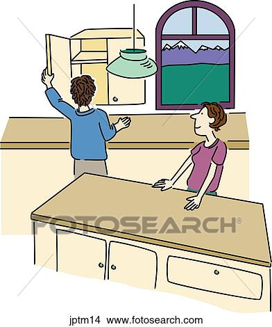 new kitchen redesign 绘画 图画 新 厨房jptm14 搜寻clip art illustrations and images 手绘图 厨房 fotosearch