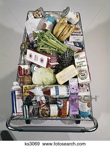 1960S Top View Of Full Super Market Food Grocery Shopping Cart Packed Stock Photo | ks3069 | Fotosearch