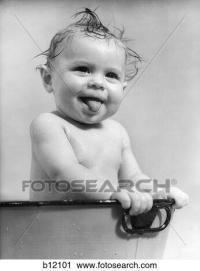 Stock Fotografie - 1940S, 1930S, nasse, baby sitzen, in ...